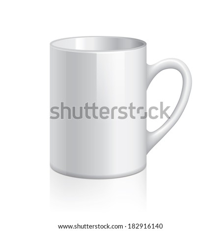 White cup isolated on white photo-realistic vector illustration - stock vector