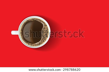White cup of coffee with foam and bubbles on a bright red background. View from above.  Menu, packaging design, poster, invitation card. Realistic vector illustration. - stock vector