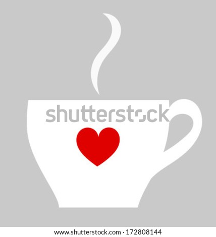 White cup of coffee with red heart. Vector illustration - stock vector