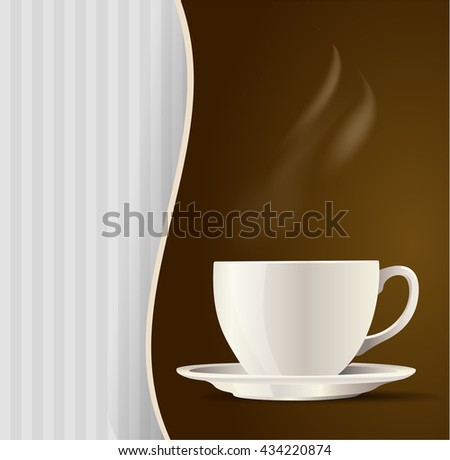 white cup tea or coffee menu background. vector illustration - stock vector