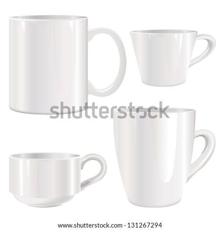 white cup vector set. - stock vector