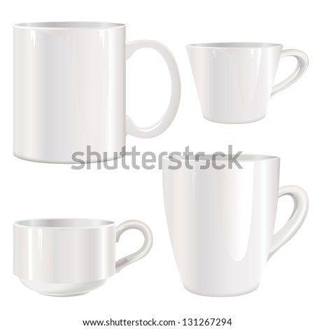 White cup vector set. Mug collection isolated on white. - stock vector