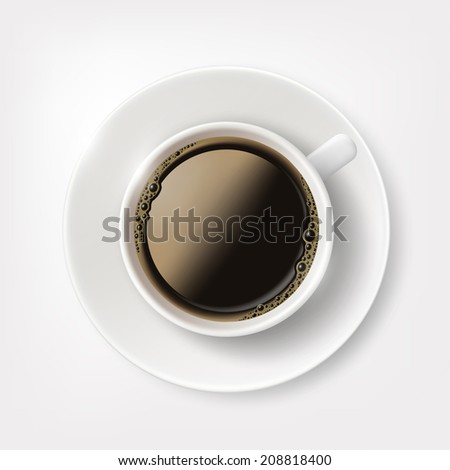 white cup with coffee - stock vector