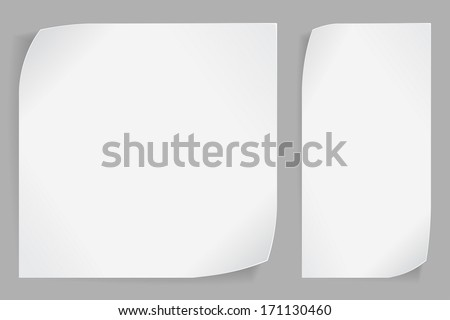 White curled paper stickers over gray background. Vector EPS10. - stock vector