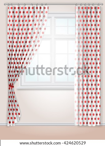White Curtains With Red Polka Dots And A Kitchen Window