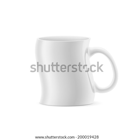 White curve a cup of something stay on white background - stock vector