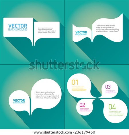 white cut paper speech bubbles on azure. speech bubbles set. vector illustration. - stock vector