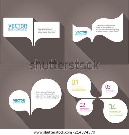 white cut paper speech bubbles on grey. speech bubbles set. vector illustration. - stock vector