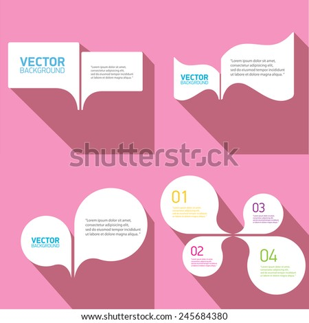 white cut paper speech bubbles on pink. speech bubbles set. vector illustration - stock vector