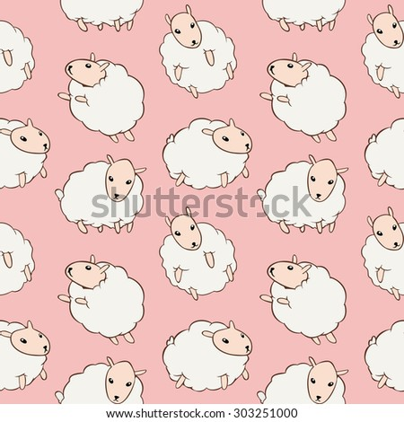 White cute sheep seamless pattern on pink background