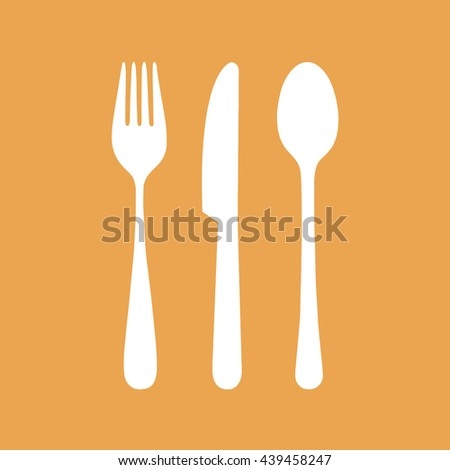 White cutlery icon set vector illustration