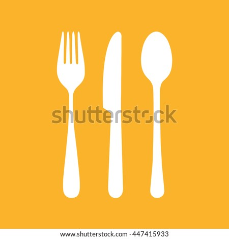 White cutlery set vector icon. Yellow background