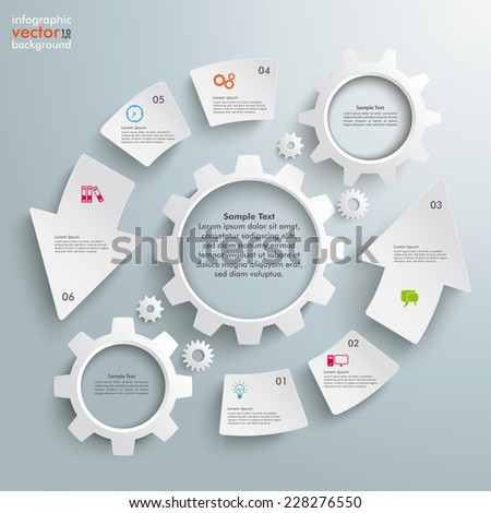 White cycling arrows with white gears on the grey background. Eps 10 vector file. - stock vector