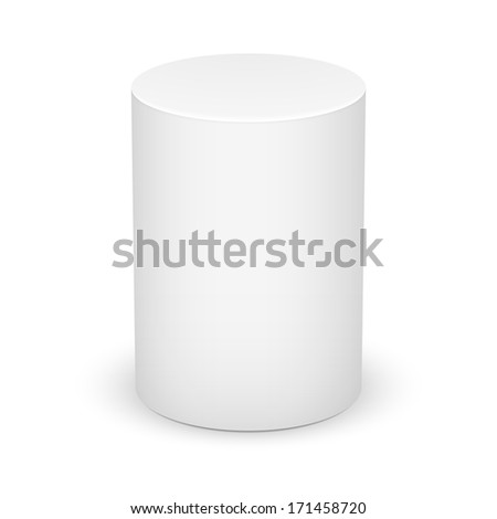 White cylinder isolated on white background. Basic geometrical form. Vector illustration. - stock vector