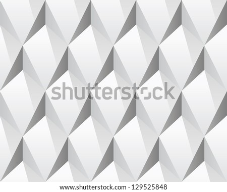 White 3d abstract seamless texture (vector). Modern concept pattern (rhombus). Bright background (illustration). - stock vector