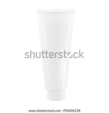 White 3d Blank Tube of cream, packaging. Realistic vector illustration