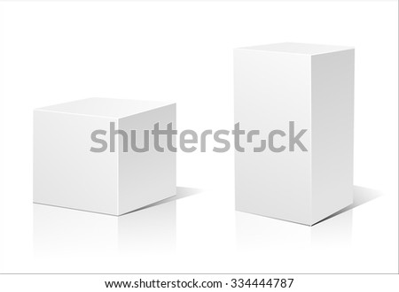 White 3D box isolated on a white background. Vector illustration for your design.