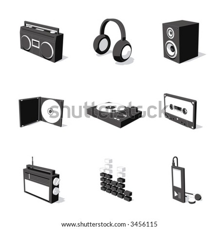 white 3D icon set 07 - stock vector