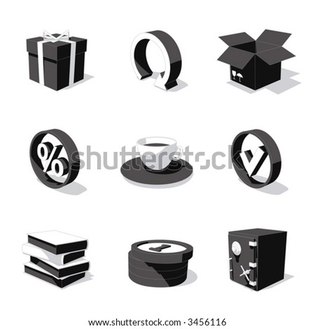 white 3D icon set 04 - stock vector