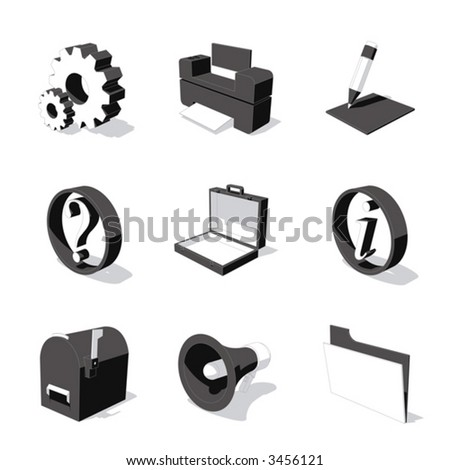 white 3D icon set 02 - stock vector