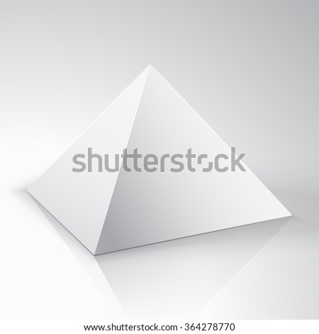 White 3d pyramid on white background - Vector. White  pyramid package for new design. pyramid isolated on a white background. Geometric figures. The bodies of plaster. Solid - stock vector