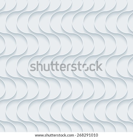 White 3D wallpaper. Halftone seamless background vector EPS10.  See others in My Outline Extrude Set. - stock vector