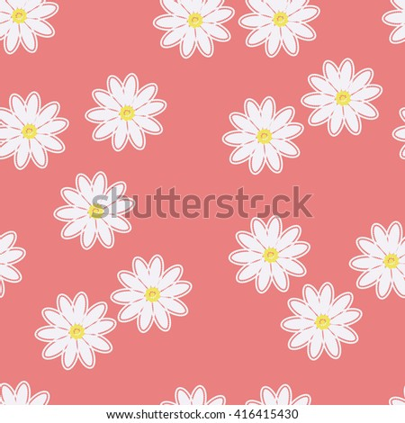 White daisies on a pink background. Seamless pattern with chamomiles on pink background. Daisy field. Floral seamless pattern with daisies flowers. Vector background.