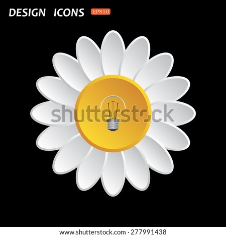 White daisy flower. Flat design style. lamp, incandescent bulb. icon. vector design - stock vector