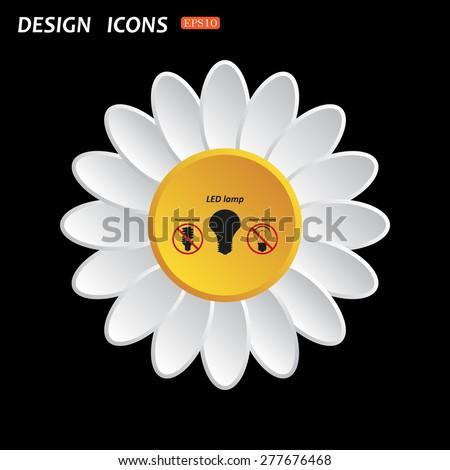 White daisy flower on a black background. fluorescent lamp, LED lamp, incandescent bulb . icon. vector design - stock vector
