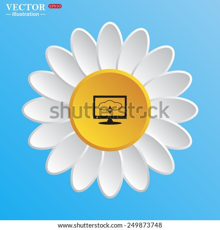 White daisy on a blue background. cloud storage on the computer, vector illustration, EPS 10 - stock vector