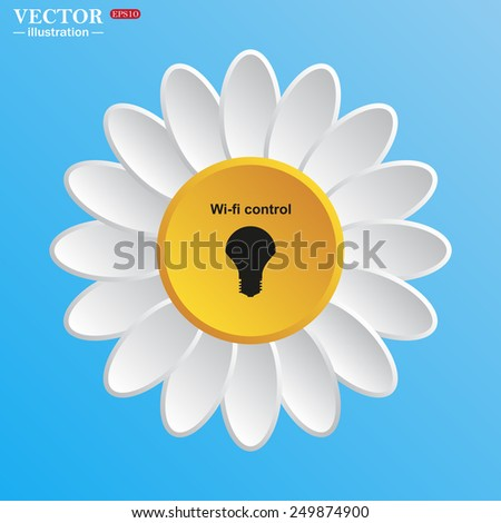 White daisy on a blue background. LED lamp controlled via wi-fi network, vector illustration, EPS 10 - stock vector