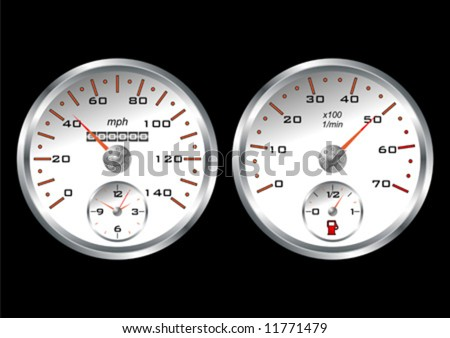 White dashboard car isolated over black background - stock vector