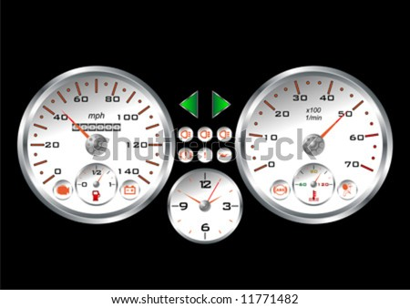 White dashboard of a sport car over black background - stock vector