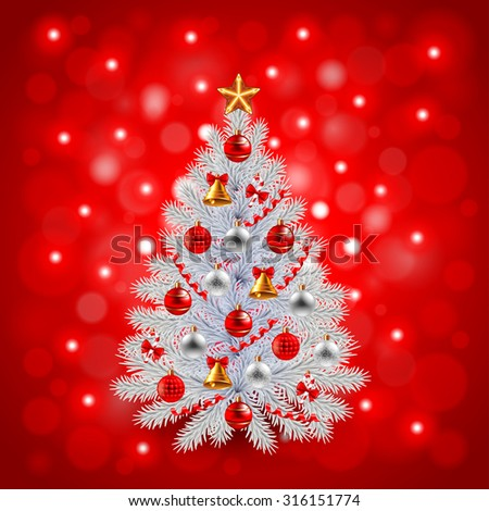 White decorated Christmas tree on red background realistic vector - stock vector
