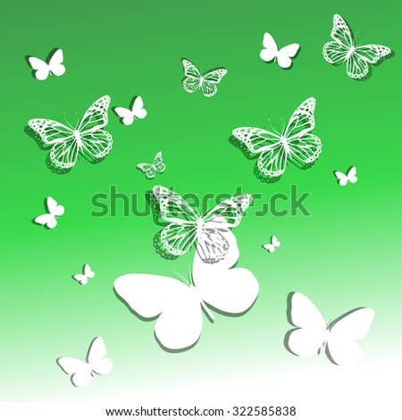 White delicate butterflies flying. Vector