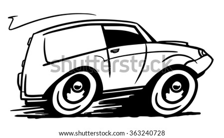 White delivery car. Vector illustration - stock vector