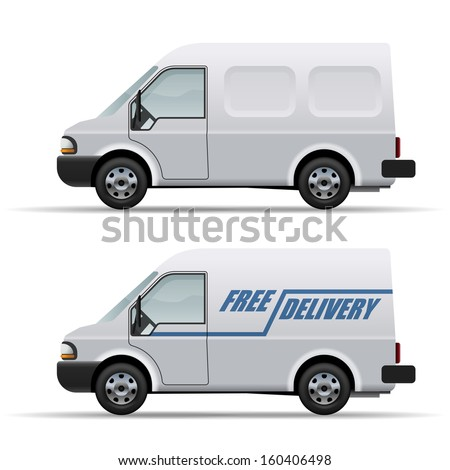 White delivery van realistic vector icon isolated on white background. - stock vector