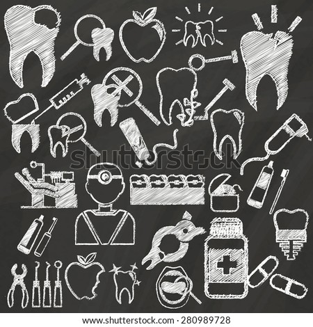 White dental icons hand drawing by chalk on green board - stock vector