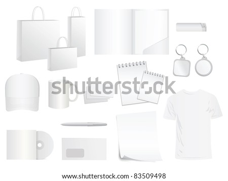 white design templates for brand style, vector - stock vector