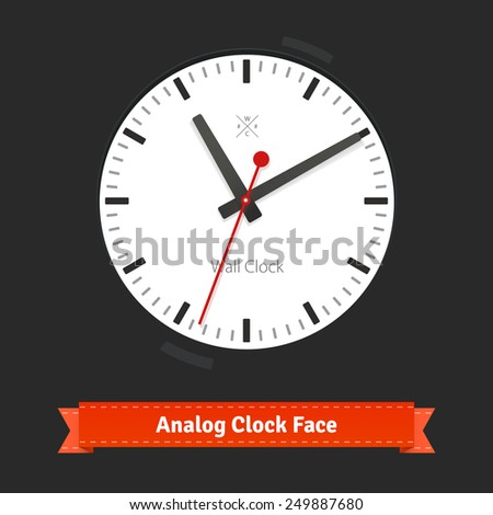 White designer clock face with red seconds hand. Flat style illustration or icon. EPS 10 vector. - stock vector