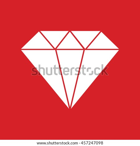 White diamond icon vector illustration. Red background