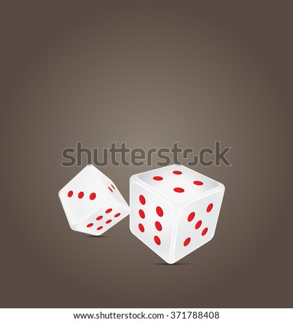White dice with red dots