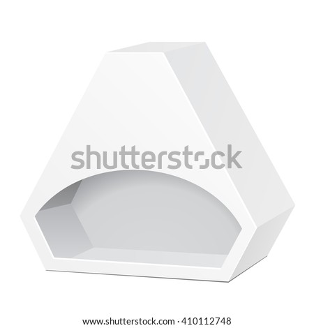 White Die Cut Box Cardboard Hexagon Triangle Carry Box Bag Packaging With Window For Food, Gift Or Other Products. On White Background Isolated. Ready For Your Design. Product Packing Vector EPS10