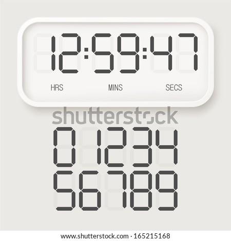 White digital watch - stock vector