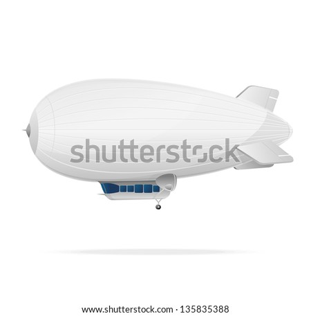 White dirigible balloon on a white background. Vector illustration - stock vector