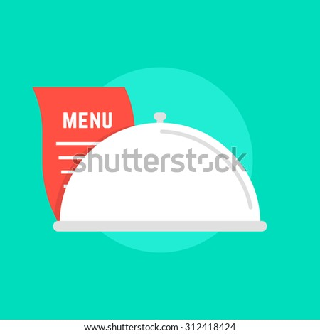 white dish icon with menu. concept of maintenance catering, servant, diner, celebration, serving, food delivery. isolated on green background. flat style trend modern logo design vector illustration - stock vector