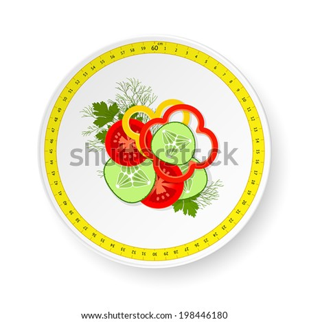 White dish with pattern from measuring tape and small dose of sliced fresh vegetables - stock vector