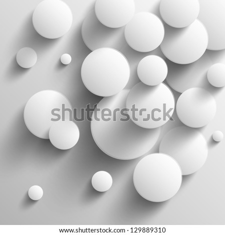 White disks with shadows - stock vector