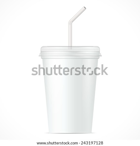 White Disposable Paper Cup With Lid And Straw. Container For Coffee, Java, Tea, Cappuccino, Yogurt. Illustration Isolated On White Background. Mock Up Template Ready For Your Design. Vector EPS10