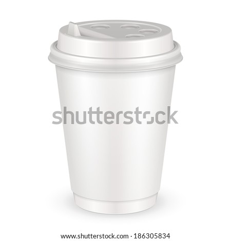 White Disposable Paper Cup With Lid. Container - stock vector